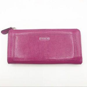 Coach Darcy Fuchsia Raspberry Zipper Wallet